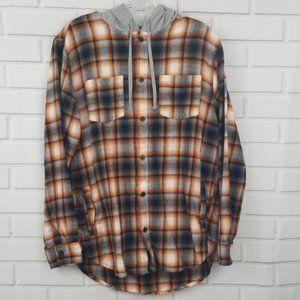 PacSun Plaid Flannel Hooded Button Down Shirt